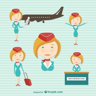 Personnage de dessin animé de hôtesse de l'air