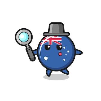 Personnage de dessin animé d'insigne de drapeau australien recherchant avec une loupe, design de style mignon pour t-shirt, autocollant, élément de logo
