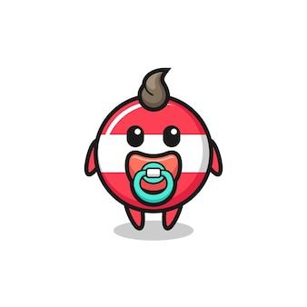 Personnage de dessin animé d'insigne de drapeau d'autriche bébé avec tétine, design de style mignon pour t-shirt, autocollant, élément de logo