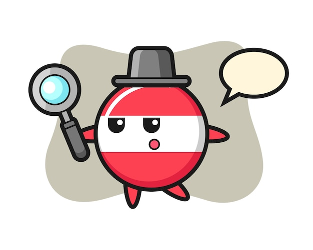 Personnage de dessin animé insigne drapeau autriche à la recherche avec une loupe