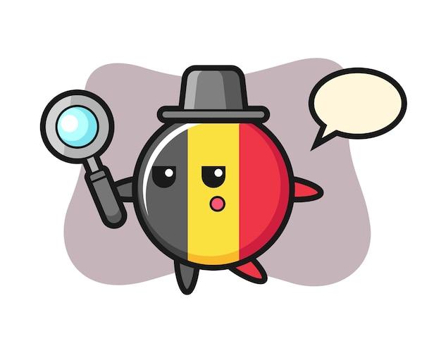 Personnage de dessin animé d'insigne de drapeau de la belgique à la recherche d'une loupe