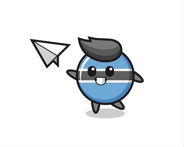 Personnage de dessin animé d'insigne de drapeau du botswana jetant un avion en papier, conception de style mignon pour t-shirt, autocollant, élément de logo
