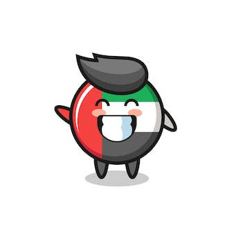 Personnage de dessin animé d'insigne de drapeau des émirats arabes unis faisant un geste de la main de vague, conception de style mignon pour t-shirt, autocollant, élément de logo