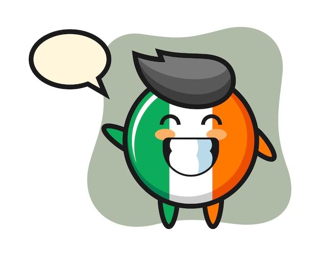 Personnage de dessin animé insigne drapeau irlande faisant le geste de la main vague