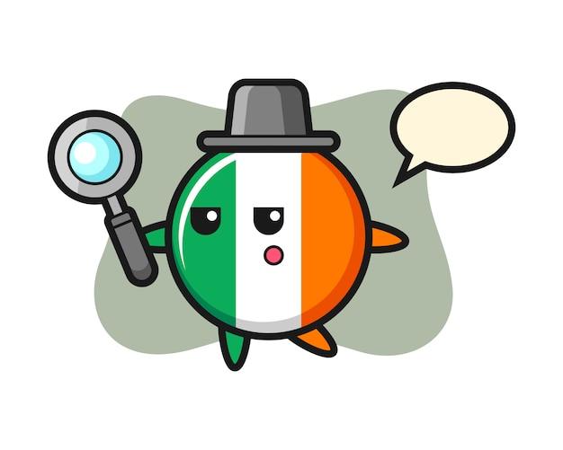 Personnage de dessin animé d'insigne de drapeau d'irlande à la recherche avec une loupe