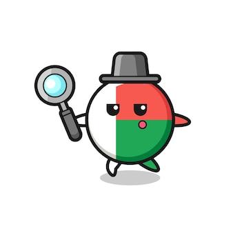 Personnage de dessin animé d'insigne de drapeau de madagascar recherchant avec une loupe, conception mignonne