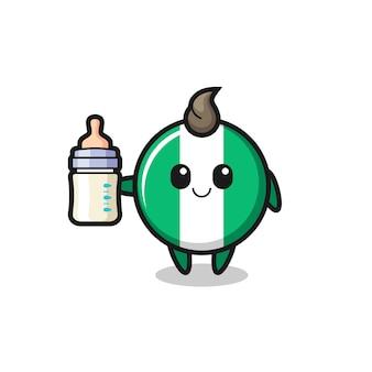 Personnage de dessin animé d'insigne de drapeau nigeria bébé avec bouteille de lait, design de style mignon pour t-shirt, autocollant, élément de logo