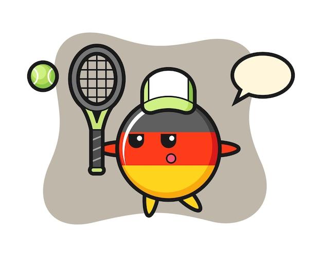Personnage de dessin animé de l'insigne du drapeau de l'allemagne en tant que joueur de tennis