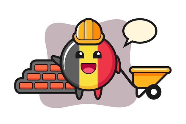 Personnage de dessin animé de l'insigne du drapeau belge en tant que constructeur