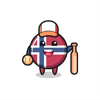 Personnage de dessin animé de l'insigne du drapeau norvégien en tant que joueur de baseball, design de style mignon pour t-shirt, autocollant, élément de logo