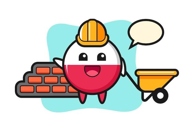 Personnage de dessin animé de l'insigne du drapeau pologne en tant que constructeur