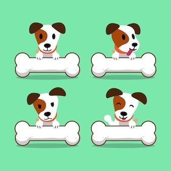 Personnage de dessin animé jack russell terrier chien avec de gros os