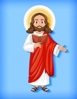 Personnage de dessin animé de jésus isolé