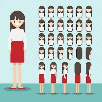 Personnage de dessin animé avec un jeu de tête de fille