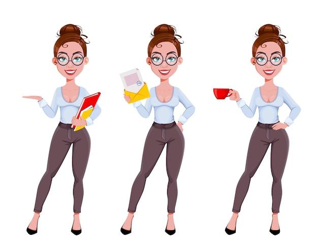 Personnage de dessin animé de jeune femme belle entreprise