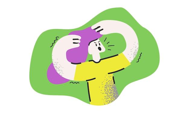 Personnage de dessin animé de jeune femme en colère isolé sur fond vert