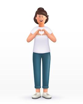 Personnage de dessin animé jeune femme montrant le geste du coeur