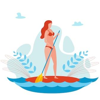 Personnage de dessin animé jeune femme sur un panneau de sup