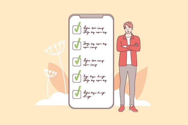 Personnage de dessin animé de jeune homme souriant debout près de l'interface de l'écran du smartphone avec des tâches et des fonctions accomplies
