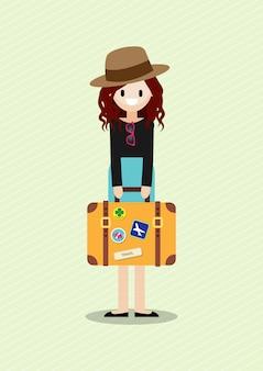 Personnage de dessin animé avec jolie dame de belle touriste