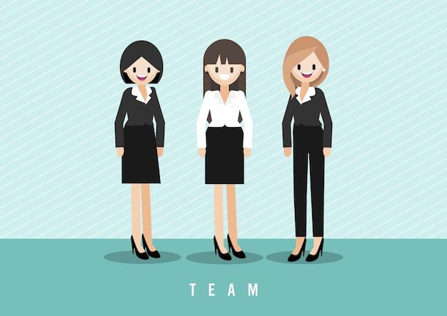 Personnage de dessin animé avec jolie dame de travail d'équipe
