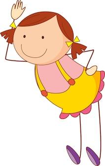 Personnage de dessin animé de jolie fille dans un style de griffonnage dessiné à la main isolé