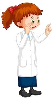 Personnage de dessin animé de jolie fille portant une blouse de laboratoire scientifique