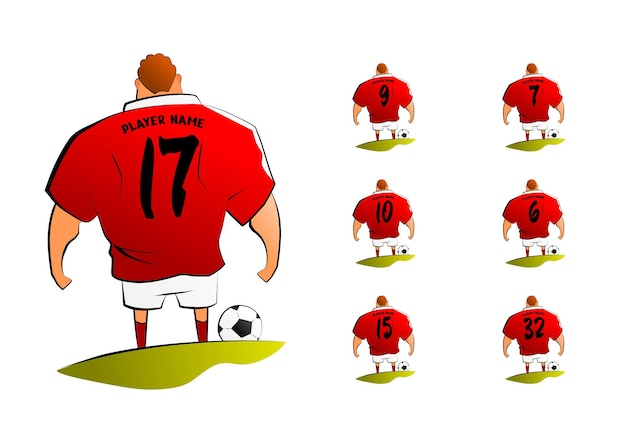 Personnage de dessin animé de joueur de football avec numéro de dos défini vecteur premium