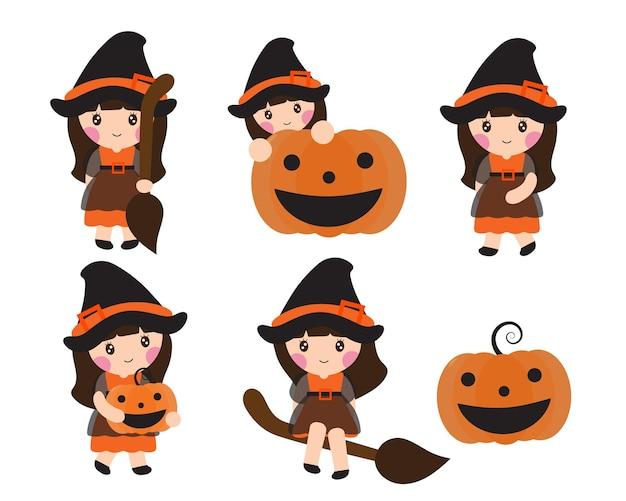 Personnage de dessin animé joyeux halloween de petite fille mignonne