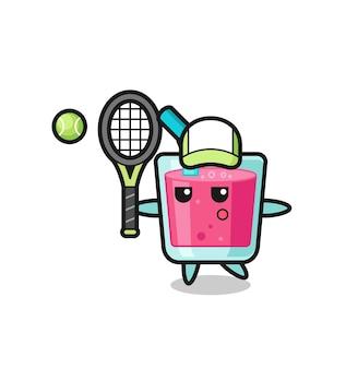 Personnage de dessin animé de jus de fraise en tant que joueur de tennis, design de style mignon pour t-shirt, autocollant, élément de logo