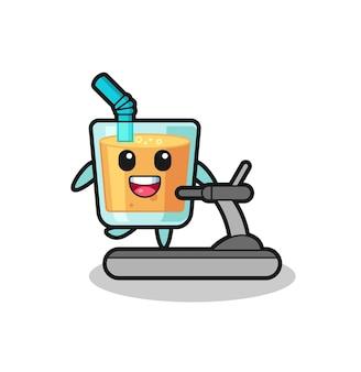 Personnage de dessin animé de jus d'orange marchant sur le tapis roulant, conception de style mignon pour t-shirt, autocollant, élément de logo