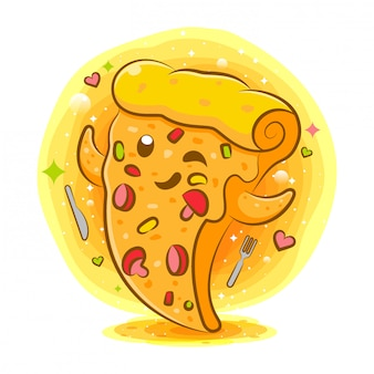 Personnage de dessin animé kawaii pizza savoureuse