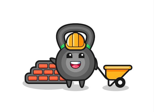 Personnage de dessin animé de kettlebell en tant que constructeur, design de style mignon pour t-shirt, autocollant, élément de logo