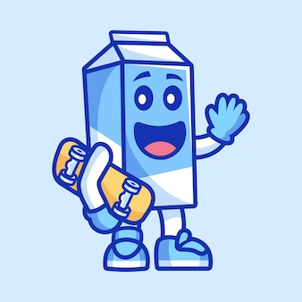 Personnage de dessin animé de lait tenant une planche à roulettes
