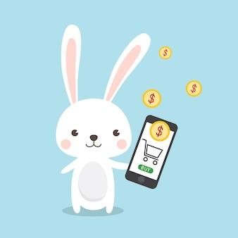 Personnage de dessin animé de lapin concept de magasinage en ligne
