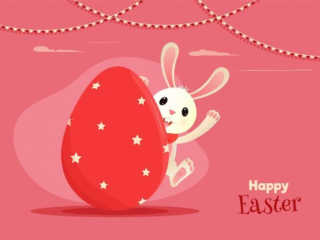 Personnage de dessin animé de lapin mignon se cachant à l'intérieur de l'oeuf avec texte o