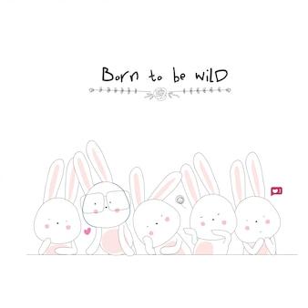 Personnage de dessin animé de lapin mignon. vecteur animal dessiné à la main
