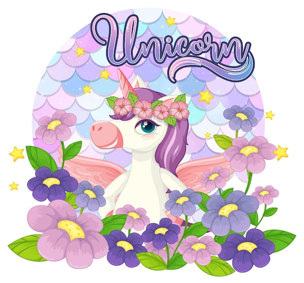 Personnage de dessin animé de licorne sur fond d'écailles pastel isolé