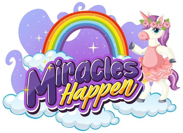 Personnage de dessin animé de licorne avec la police miracles happen