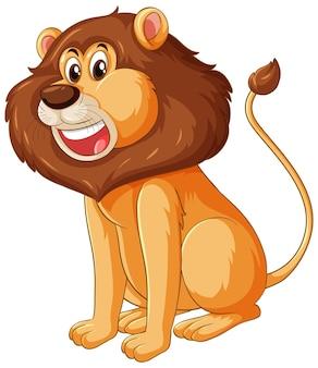 Personnage de dessin animé de lion en posture assise