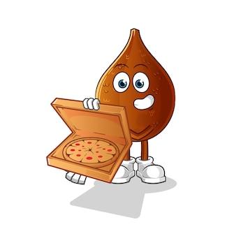 Personnage de dessin animé de livreur de pizza paume épineuse