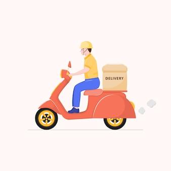 Personnage de dessin animé de livreur plat, livraison de scooter.