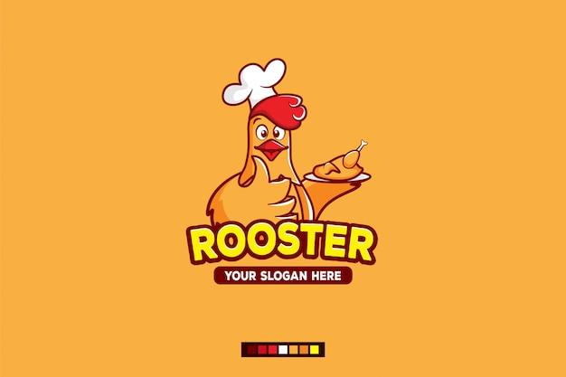 Personnage de dessin animé de logo coq