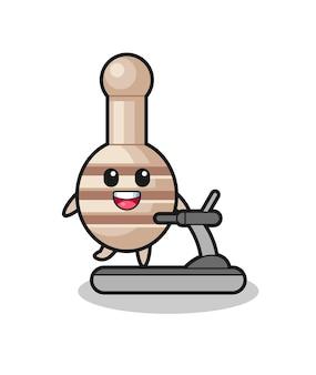 Personnage de dessin animé de louche de miel marchant sur le tapis roulant, conception mignonne