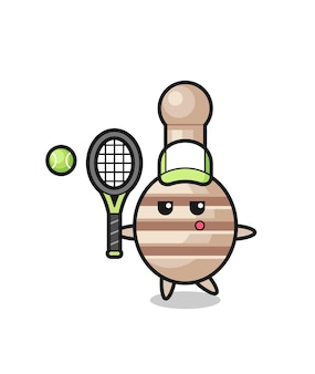 Personnage de dessin animé de louche de miel en tant que joueur de tennis, design mignon