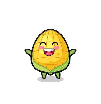 Personnage de dessin animé de maïs bébé heureux, design de style mignon pour t-shirt, autocollant, élément de logo
