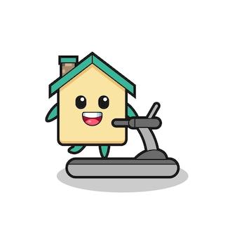 Personnage de dessin animé de maison marchant sur le tapis roulant, conception mignonne