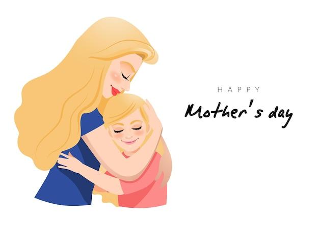 Personnage de dessin animé avec maman et fille embrassent. illusrtation de la fête des mères