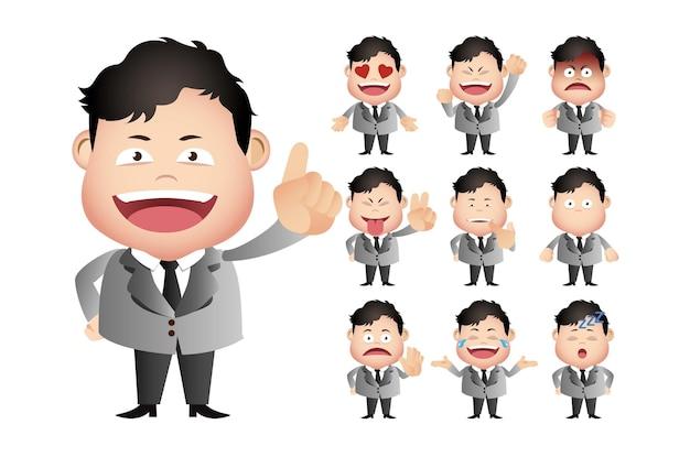 Personnage de dessin animé man facial expressions