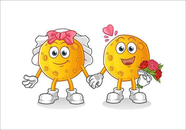 Personnage de dessin animé de mariage de lune